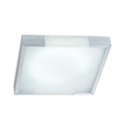 Plafon Alumínio Acrílico Vidro Quadrado Branco 44x44cm Bella Iluminação 3 E-27 Bivolt CM441-3 Quartos e Banheiros