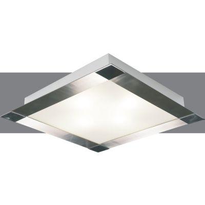 Plafon Metal Cromado Vidro Fosco Quadrado 9x47,5cm Bella Iluminação 4 E-27 Bivolt CM497-4 Cozinhas e Corredores