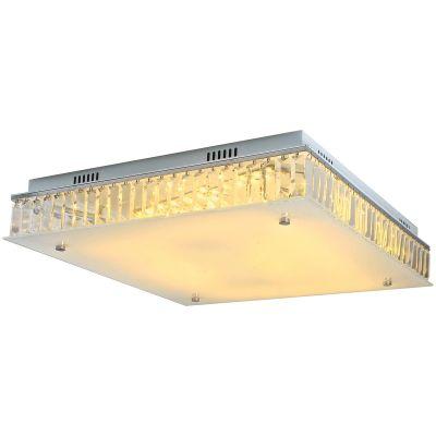 Plafon Lyon Quadrado Metal Cristal Vidro 15x52cm Bella Iluminação 9 G9 Halopin CY004L Corredores e Entradas
