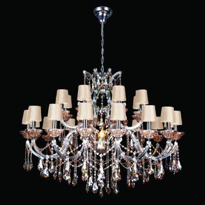 Lustre Gallery Candelabro Cristal Âmbar Cupula 92x120cm Bella Iluminação 25 E14 Bivolt DM83267-25 Salas e Hall