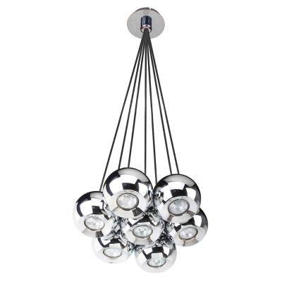 Pendente Aco 5 Esferas Redondo Metal Cromado 30x23cm Bella Iluminação 7 GU10 Dicróica FH017 Salas e Hall