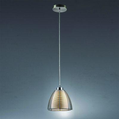 Pendente Wire Cupula Conica Vidro Transparente Alumínio Ø19cm Bella Iluminação 1 E27 Bivolt GA002S Salas e Entradas