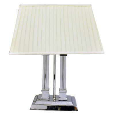 Abajur Metal Cromado Vidro Cupula Tecido Branco 56x26cm Bella Iluminação 2x E27 Bivolt GT006 Mesas e Quartos