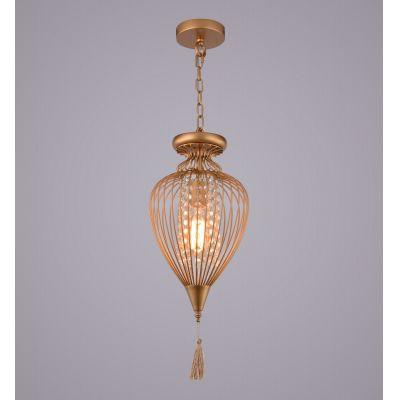 Pendente Indian Aramado Cristal Metal Dourado 64x34cm Bella Iluminação 1 E27 Bivolt GX008C Entradas e Salas