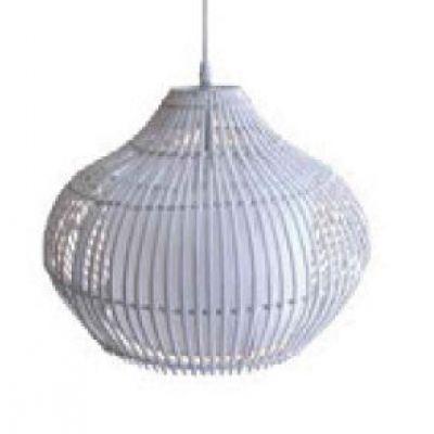 Pendente Fibra Tecido Redondo Decorativo Branco 48x59cm Bella Iluminação 1 E27 Bivolt GX011A Quartos e Corredores