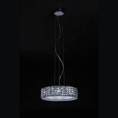 Pendente Aco Cromado Cristal Acrílico Transparente Ø45cm Bella Iluminação 9 LED 3W 220V HO018B Salas e Quartos