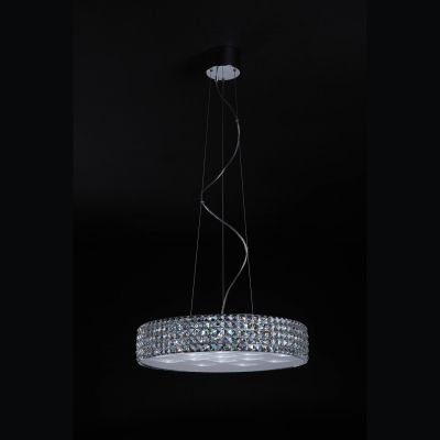 Pendente Sonata Metal Cristal Acrílico Transparente Ø60cm Bella Iluminação 18 LED 3W 220V HO019B Salas e Quartos