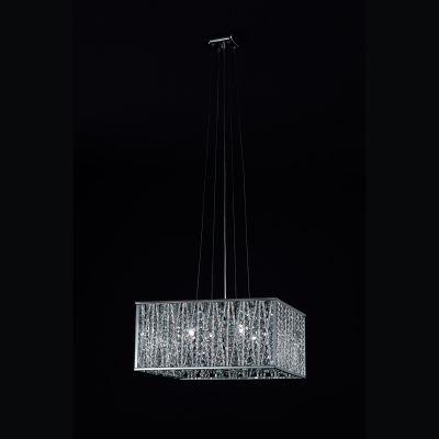 Pendente Adágio Quadrado Alumínio Cristal 41x41cm Bella Iluminação 5 G9 Halopin Bivolt HO020 Entradas e Quartos