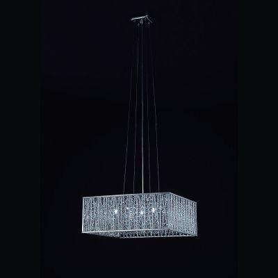 Pendente Adágio Quadrado Alumínio Cristal 50x50cm Bella Iluminação 5 G9 Halopin Bivolt HO021 Entradas e Quartos