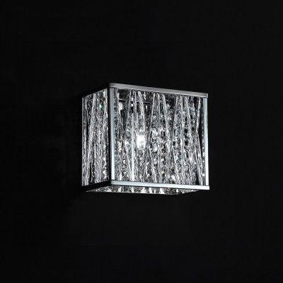 Arandela Adágio Quadrada Metal Cromado Cristal 20x19cm Bella Iluminação 1 G9 Halopin HO023 Corredores e Entradas