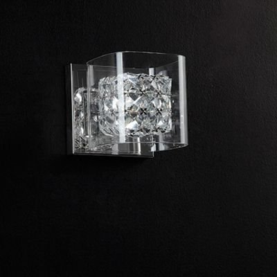 Arandela Ravel Metal Cromado Cristal Vidro 13x15cm Bella Iluminação 1 G9 Halopin Bivolt HO025P Corredores e Salas