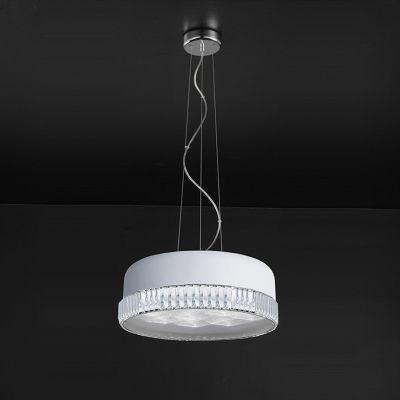 Pendente Redondo Alumínio Branco Fosco Cristal 12x25cm Bella Iluminação 6 LED 18W Bivolt HO040W Quartos e Salas