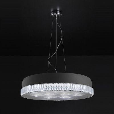 Pendente Redondo Alumínio Preto Fosco Cristal 18x57cm Bella Iluminação 16 LED 18W Bivolt HO042B Quartos e Salas
