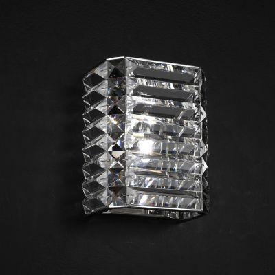 Arandela Recital Retangular Cristal Lapidado 18x15cm Bella Iluminação 1 G9 Halopin Bivolt HO043 Corredores e Salas