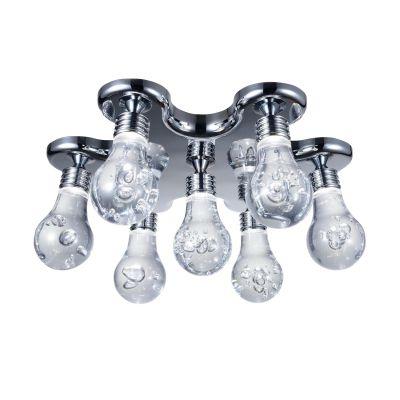 Plafon Bolha 7x LED Metal Cromado Acrílico 18x45cm Bella Iluminação 7 LED Bivolt HO077C Salas e Cozinhas