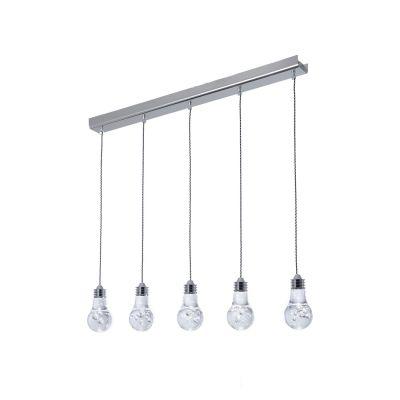 Pendente Bolha 5x Horizontal LED Metal Acrílico 15x80cm Bella Iluminação 5 LED Bivolt HO079 Cozinhas e Entradas