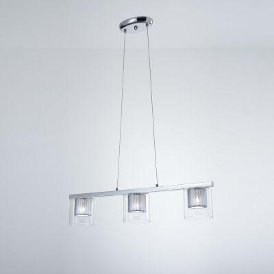 Pendente Alumínio Cromado Vidro Transparente 70x139cm Bella Iluminação 3 G9 Halopin Bivolt HO090 Mesas e Cozinhas