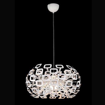 Pendente Bobe LED Alumínio Vidro Branco 40x51cm Bella Iluminação LED 45W Bivolt HO100S Salas e Entradas