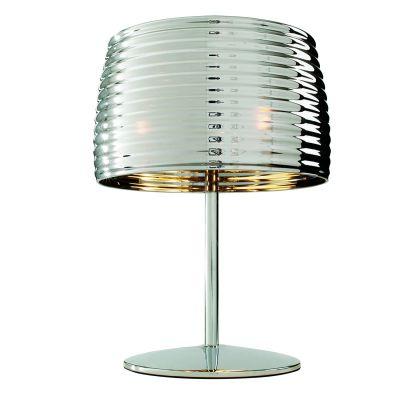 Abajur Mesa Metal Cromado Cupula Redonda Vidro 44x32cm Bella Iluminação 2 E14 Bivolt HO1565L Mesas e Cabeceiras