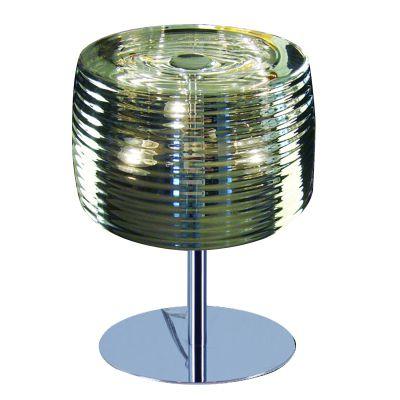 Abajur Mesa Cromado Cupula Redonda Vidro 44x32cm Bella Iluminação 2 G9 Halopin Bivolt HO1565S Mesas e Cabeceiras