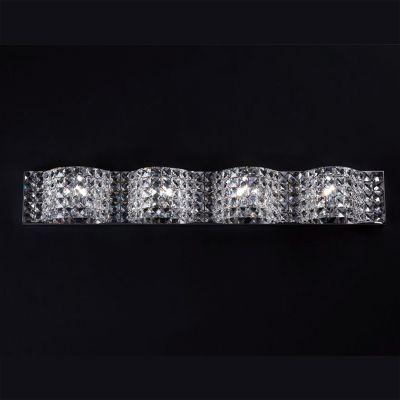 Arandela Arraia 4x Metal Cromado Cristal Transparente 9x86cm Bella Iluminação 4 G9 Halopin HO2464 Quartos e Salas