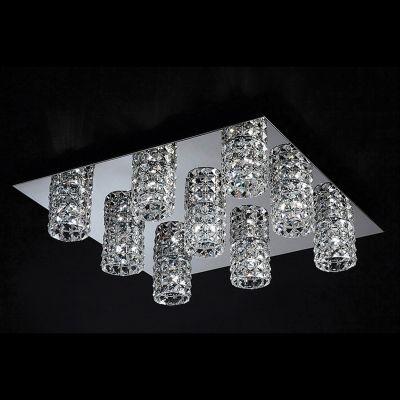 Plafon Sonata 9x Tubos Quadrado Metal Cristal 13x62cm Bella Iluminação 9 G9 Halopin HO2669C Entradas e Salas