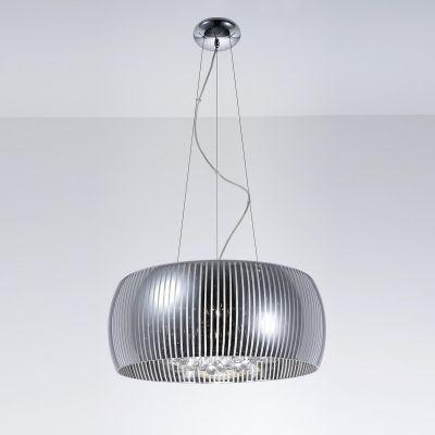 Pendente Soho Redondo Metal Vidro Transparente 30x50cm Bella Iluminação 6 G9 Halopin Bivolt HO7850 Salas e Quartos