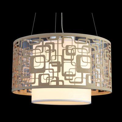 Pendente Poetry Metal Tecido Branco Bege Redondo 30x50cm Bella Iluminação 3 E27 Bivolt HU1073A Salas e Cozinhas