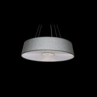 Pendente Aco Metal Cromado Tecido Cinza Branco 16x60cm Bella Iluminação 5 E27 Bivolt HU2010B Quartos e Entradas