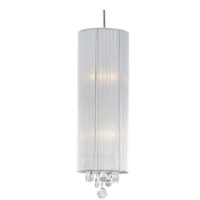 Pendente Silk Tubular Fio Seda Prata Cristal 50x20cm Bella Iluminação 2 E27 Bivolt HU2089S Quartos e Entradas