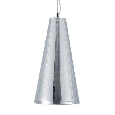 Pendente Conico Vertical Aço Vidro Cromado 33x18cm Bella Iluminação 1 E27 Bivolt HU2093C Cozinhas e Corredores