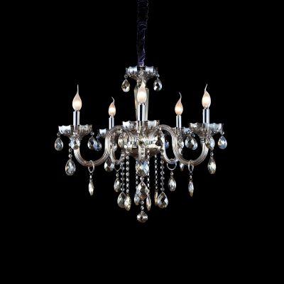 Lustre Candelabro Princess 5 Braços Cristal Conhaque 63x61cm Bella Iluminação 5 E14 Bivolt HU2095A Salas e Entradas