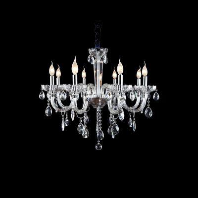 Lustre Candelabro Princess 8 Braços Transparente 63x61cm Bella Iluminação 8 E14 Bivolt HU2098 Salas e Entradas