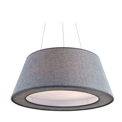 Pendente Bari Base Metal Cupula Tecido Cinza 25x60cm Bella Iluminação 4 E27 Bivolt HU2100B Quartos e Corredores
