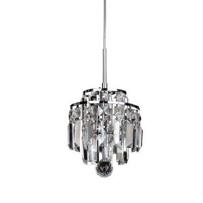 Pendente Kri Metal Cristal Lapidado Transparente 21x18cm Bella Iluminação 1 G9 Halopin HU2105 Salas e Entradas