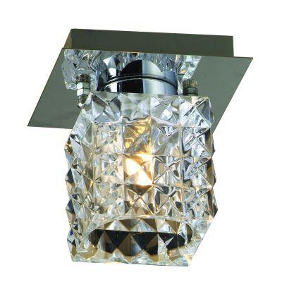 Plafon Prisma Cubico Metal Vidro Transparente 10x9cm Bella Iluminação 1 G9 Halopin Bivolt HU2149C ENtradas e Salas