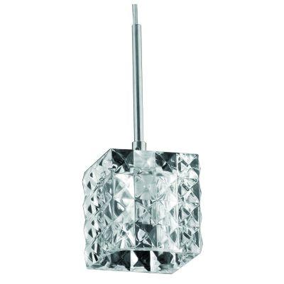 Pendente Prisma Cubico Metal Vidro Transparente 10x9cm Bella Iluminação 1 G9 Halopin Bivolt HU2149P Salas e Quartos