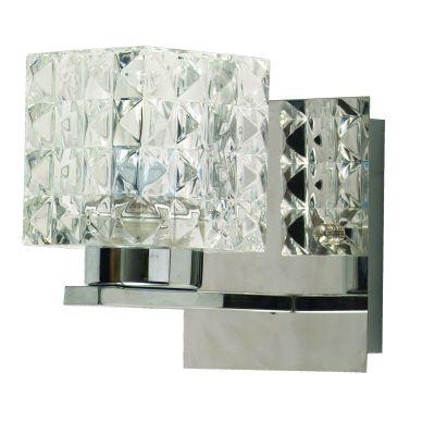 Arandela Prisma Cubica Metal Vidro Transparente 10x9cm Bella Iluminação 1 G9 Halopin Bivolt HU2149W Quartos e Salas