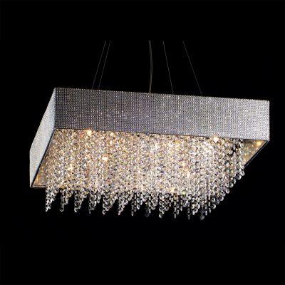 Pendente Valse Quadrado Metal Tecido Cristal 12x60cm Bella Iluminação 8 G9 Halopin Bivolt HU2150-60 Salas e Hall