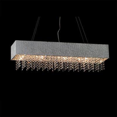 Pendente Valse Retangular Metal Tecido Cristal 22x88cm Bella Iluminação 8 G9 Halopin Bivolt HU2150-80 Salas e Hall
