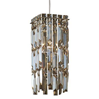 Pendente Charm Metal Cristal Âmbar 37x15cm Bella Iluminação 1 G9 Halopin Bivolt HU2155A Entradas e Corredores