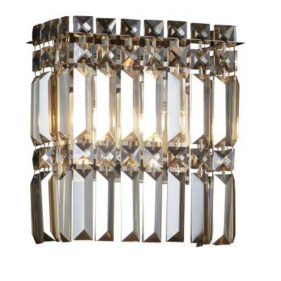 Arandela Charm Cristal Lapidado Âmbar Metal 24x20cm Bella Iluminação 2 G9 Halopin Bivolt HU5017A Corredores e Salas