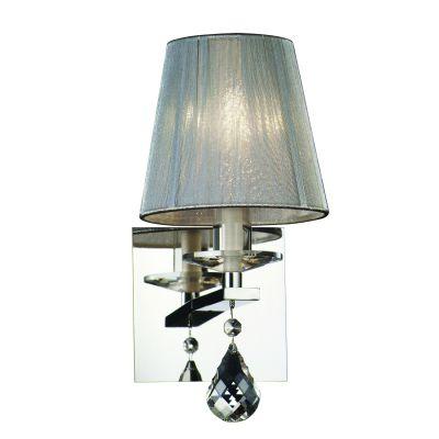 Arandela Cass Cupula Fio Seda Prata Metal Cristal 14x10cm Bella Iluminação 1 G9 Halopin HU5022S Entradas e Hall