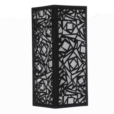 Arandela Vertical Tecido Metal Preto Quadrado 42x17cm Bella Iluminação 2 E27 Bivolt HU5026BM Entradas e Quartos