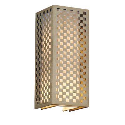 Arandela Tubular Quadrado Tecido Metal Bege 42x17cm Bella Iluminação 2 E27 Bivolt HU5027AM Corredores e Entradas