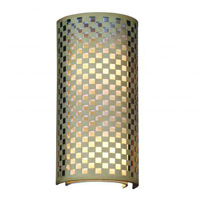 Arandela Tubular Vertical Metal Tecido Bege Branco 42x20cm Bella Iluminação 2 E27 Bivolt HU5030AM Salas e Entradas