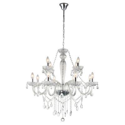 Lustre Candelabro Anjou Metal Vidro Transparente 79x82cm Bella Iluminação 12 E14 40W Bivolt JF112C Salas e Hall