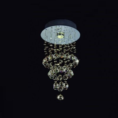 Plafon Cascade Cromado Cristal Transparente 50x25cm Bella Iluminação 1 GU10 Dicróica JL004C Entradas e Corredores