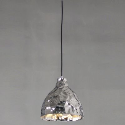 Pendente Brass Sino Vertical Metal Cromado 25x25,5cm Bella Iluminação 1 E27 Bivolt JY003C Entradas e Balcões