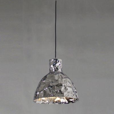 Pendente Brass Sino Vertical Metal Cromado 35x35cm Bella Iluminação 1 E27 Bivolt JY004C Entradas e Balcões